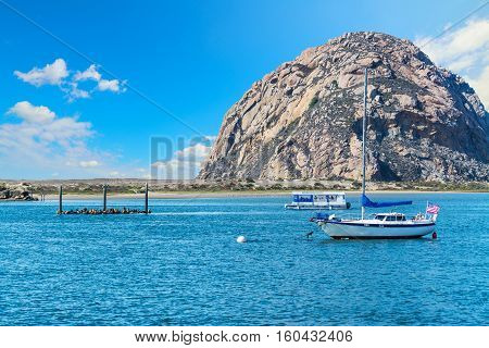 small clouds over Morro bay in California