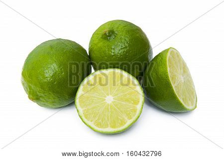 Fresh lime isolated on the white background