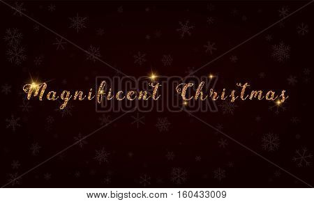 Magnificent Christmas. Golden Glitter Hand Lettering Greeting Card. Luxurious Design Element, Vector