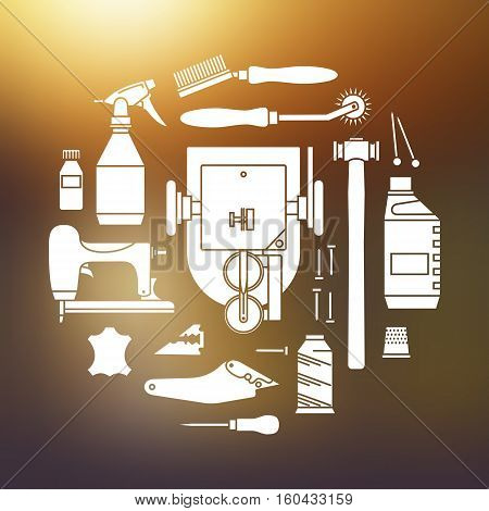 Vector icons set of furrier tools. White print on blurred background
