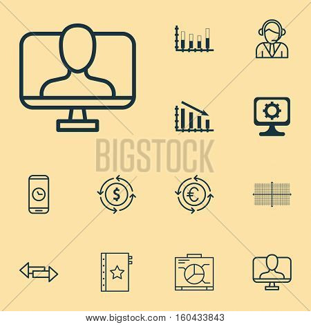 Set Of 12 Universal Editable Icons. Can Be Used For Web, Mobile And App Design. Includes Elements Such As Segmented Bar Graph, Board, Call Duration And More.