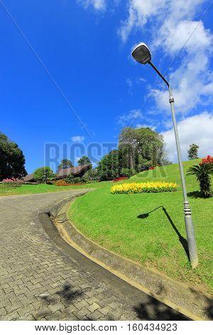 Walkway and lamp post in Doi Tung Royal Botanical Gardens