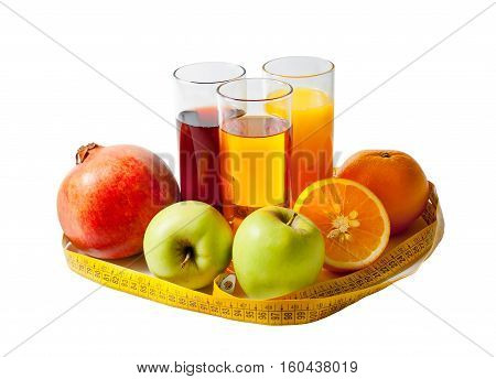 Fruit juices fruits and measuring tape isolated on white background