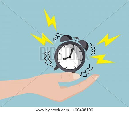 Human Hand with Alarm Clock Time Management Concept Vector Illustration