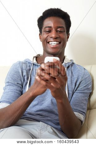 Black man with smartphone