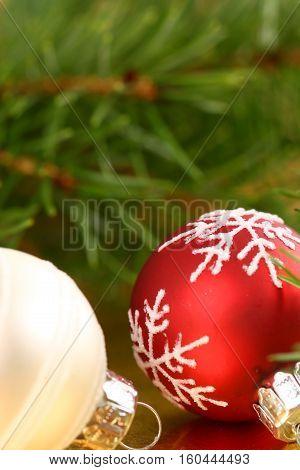 Christmas glass balls ornaments decoration. Shallow dof