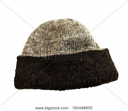 Hand knitted warm alpaca wool hat in grey with black