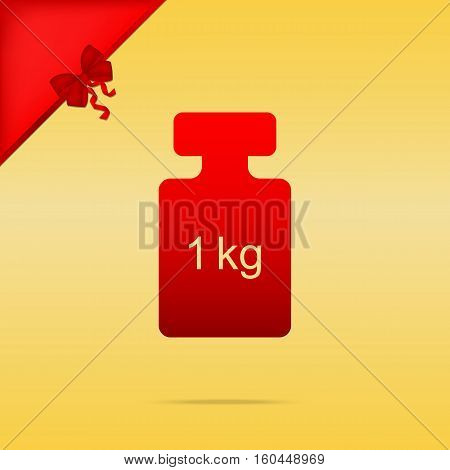 Weight Simple Sign. Cristmas Design Red Icon On Gold Background.