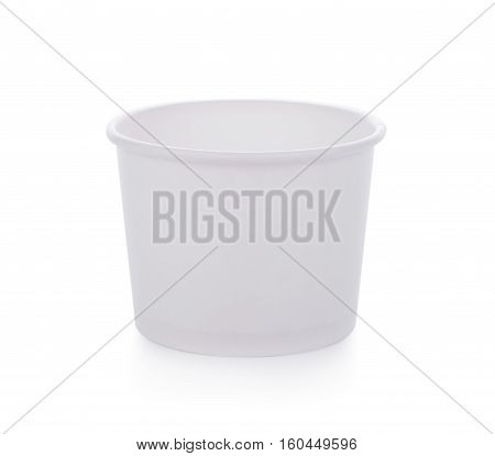 Closeup white paper cup on white background