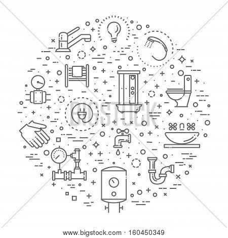 Vector plumbing line icons set. Equipment, bathroom engineering