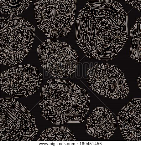 stock vector abstract seamless doodle pattern with flowers and waves. oriental backgraund. big rose