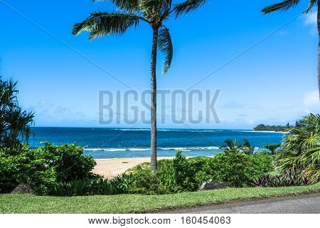 View of Haena Beach in Kauai, Hawaii