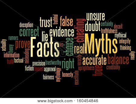 Facts - Myths, Word Cloud Concept 4
