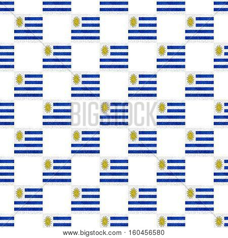 Uruguay Grunge Flag Seamless Pattern