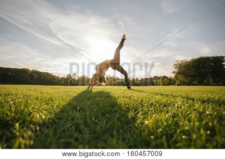 Healthy young woman doing yoga outdoors. Fit young female doing acrobatic exercise in park.