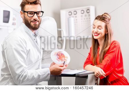 Eye doctor with young female patient having cosultation in the ophthalmologic cabinet