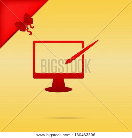 Monitor With Brush Sign. Cristmas Design Red Icon On Gold Backgr