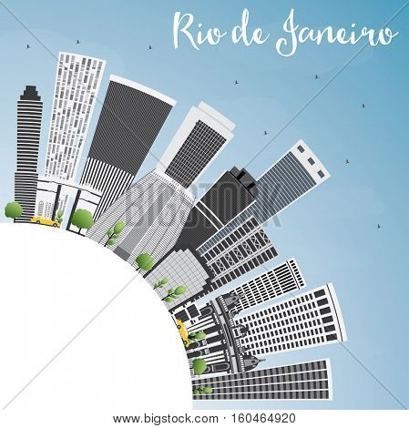 Rio de Janeiro Skyline with Gray Buildings, Blue Sky and Copy Space. Vector Illustration. Business Travel and Tourism Concept with Modern Architecture. Image for Presentation Banner Placard.