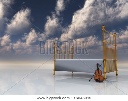 Bed and violin in surreal space