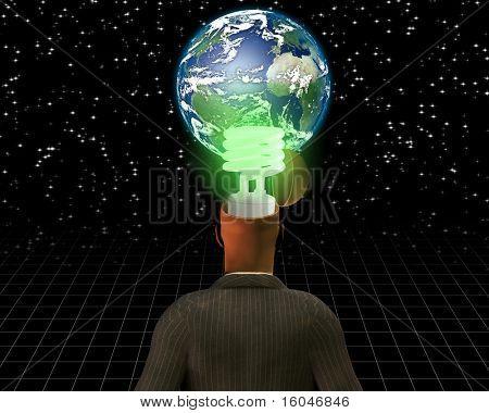 High Resolution 3D Illustration Global Green Idea