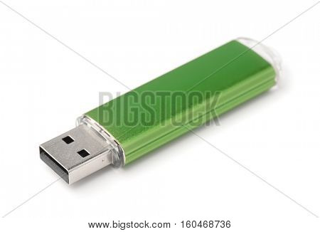 Green USB flash drive isolated on white