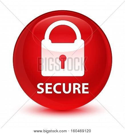 Secure (padlock Icon) Glassy Red Round Button