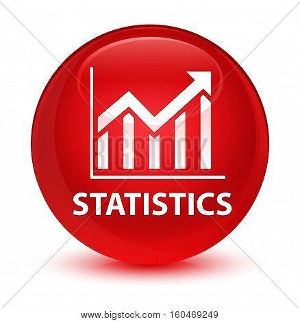 Statistics Glassy Red Round Button