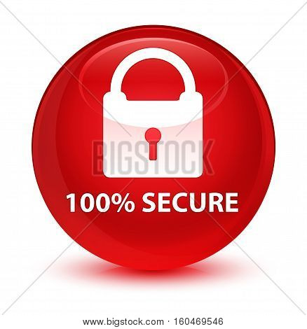 100% Secure Glassy Red Round Button