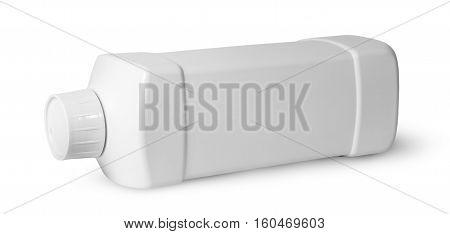 White plastic bottle of detergent horizontally isolated on white background