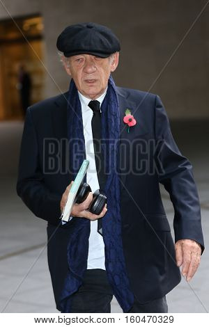 LONDON, UK, NOV 8, 2015: Sir Ian McKellen attends the Andrew Marr show at the BBC studios picture taken in the street