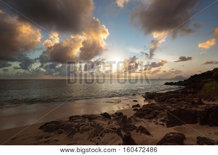 Sundown on an Exotic Beach in the Pointe Borgnese Natural Site, near Marin, Martinique, Caribbean