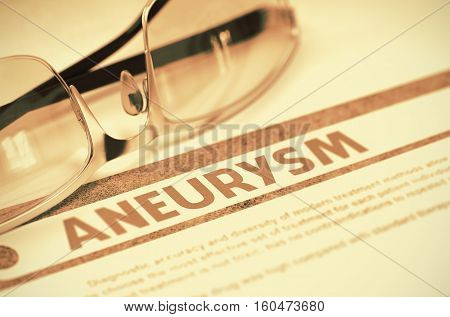 Aneurysm - Medicine Concept with Blurred Text and Eyeglasses on Red Background. Selective Focus. Aneurysm - Medical Concept on Background with Blurred Text and Composition of Specs. 3D Rendering.