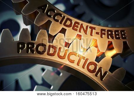 Accident-Free Production - Technical Design. Accident-Free Production on the Mechanism of Golden Metallic Cogwheels. 3D Rendering.