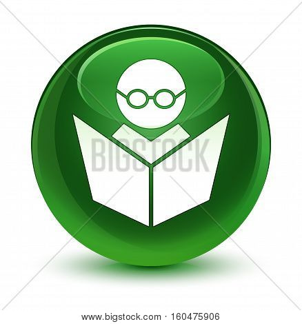 Elearning Icon Glassy Soft Green Round Button