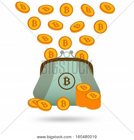 Bitcoins money falling in to a purse and standing before it. Vector illustration.