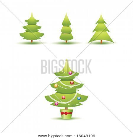 Christmas tree Icons Set . vector