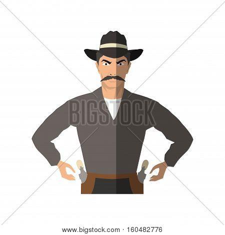 Cowboy cartoon icon. Man sheriff pop art and comic theme. Isolated design. Vector illustration