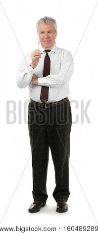 Senior businessman with spectacles on white background