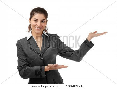 Young beautiful businesswoman on white background