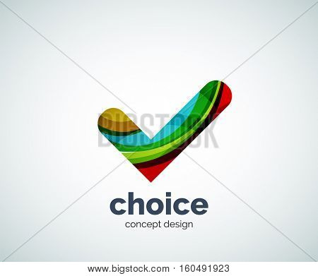 choice concept, tick logo template, abstract business icon