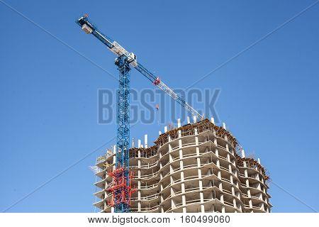 the construction of an apartment building. condominium