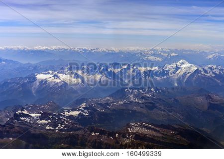 Swiss and French Alps. View from the bird's-eye view of snow-capped peaks