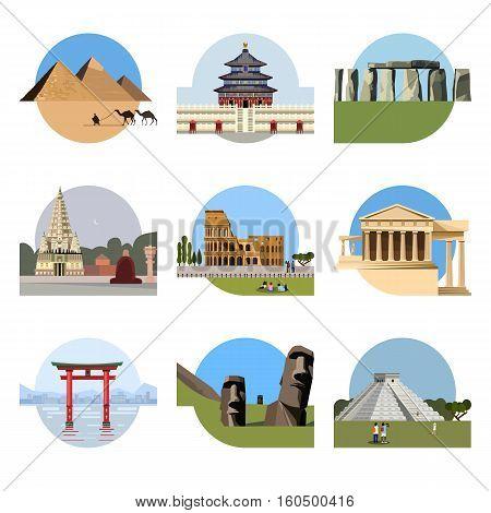World landmarks flat icon set. travel illustration. Monument sign. Egypt pyramid, Temple of Heaven, Stonehenge, Mahabodhi, Colosseum, Italy Pantheon torii gate Moai Mesoamerican pyramids