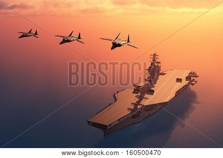 Silhouette of military aircraft and spacecraft.,3d render