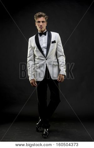 Dinner, Elegant and handsome man dressed in tuxedo for New Year's Eve or party