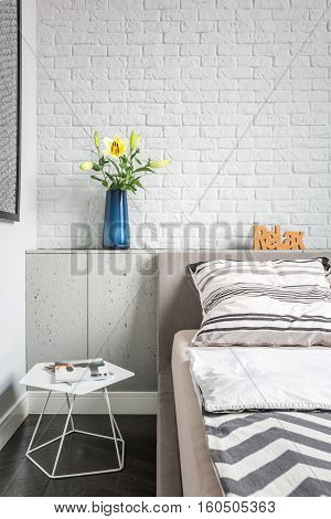 Simple Bedroom With Brick Wall