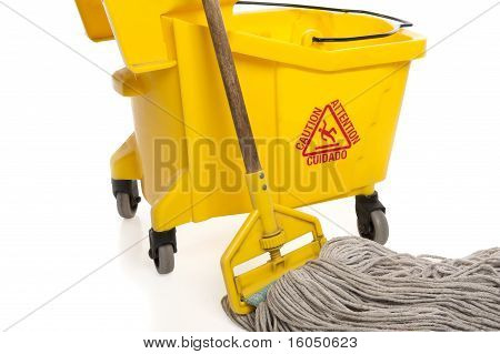 Industrial Mop And Bucket Close-up
