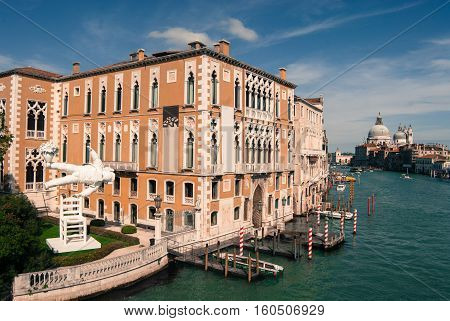 The famous Venetian Institute of Science literature and arts on the Grand Canal, Venice, Italy