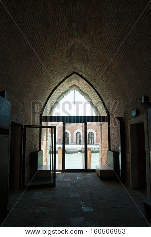 Architectural Modern Brick Arch Interior taken inside the Arsenal in Venice Italy
