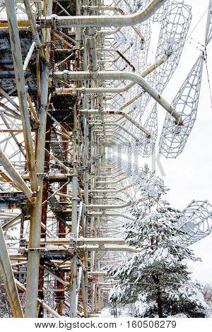 Radar Antenna. Duga In Chernobyl 2, Ukraine.. Exclusion Zone.